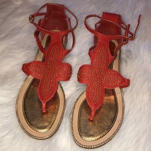 kate spade orange strappy flat sandals